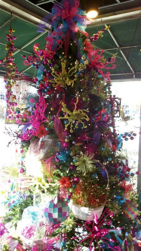 hot pink turquoise lime green christmas tree ideas