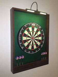 LIGHTED Green & Brown Trim Dart Board by JaysProjects on Etsy
