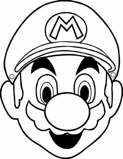Mario Coloring Face Pages Halloween Mask Drawing