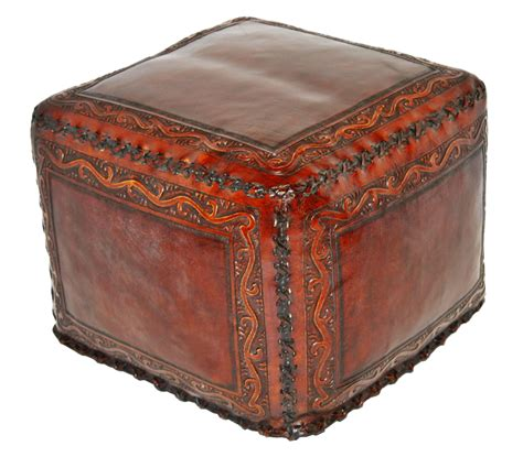 large square leather ottoman tooled leather large square ottoman with classic stitch in