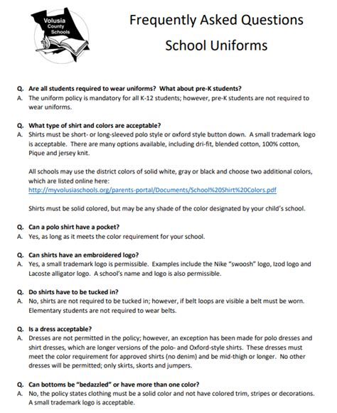 volusia county schools uniform frequently asked questions volusia