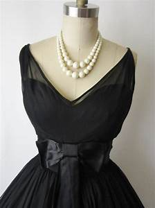 50's Cocktail Dress // Vintage 1950's Black Chiffon Full ...