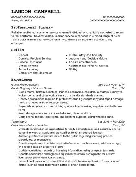 Hotel Room Attendant Resume by Best Guest Room Attendant Resumes Resumehelp