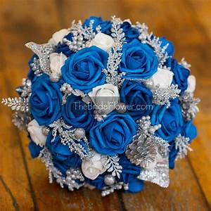 Royal blue silver winter wedding bouquet with by ...