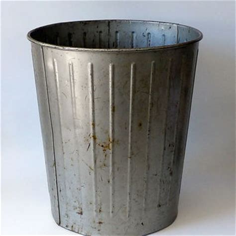Metal Bathroom Garbage Can by Vintage Metal Trash Can Industrial From