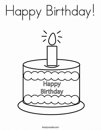 Birthday Happy Coloring Cake Pages Printable Twistynoodle