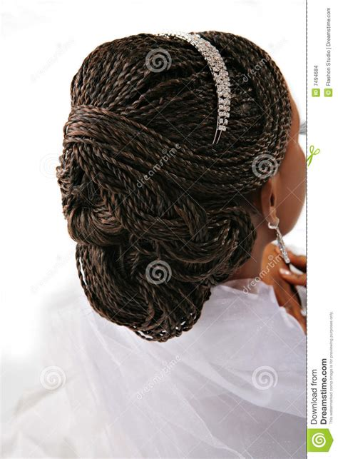 fancy female hair braid closeup stock photo image