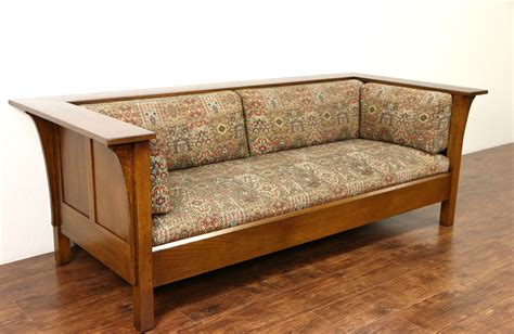Upholstery Couches by Sold Stickley Signed Craftsman Oak Vintage Sofa
