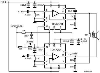 ic tda  watt audio power amplifier circuit gambar