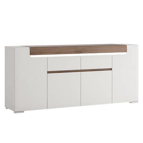 White Gloss And Oak Sideboard by White Gloss 4 Door 2 Drawer Sideboard With Oak Effect