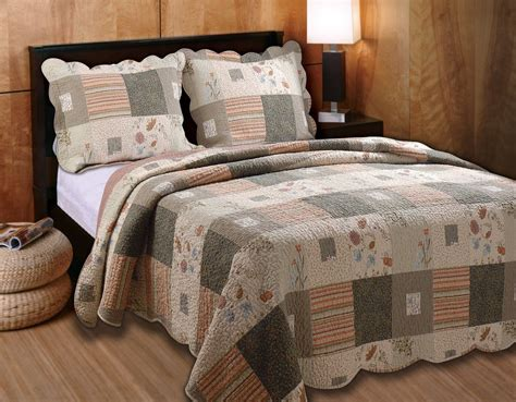 country quilts king size log cabin rustic cozy floral vintage green brown quilt