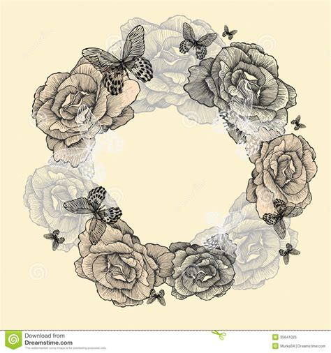 vintage wreath  roses butterflies hand drawing stock