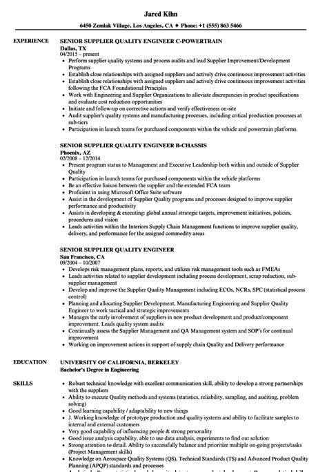 senior supplier quality engineer resume samples velvet jobs