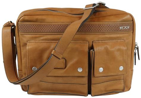 tumi tan leather ducati messenger bag tradesy