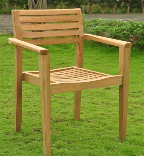 montana grade teak wood dining stacking arm chair