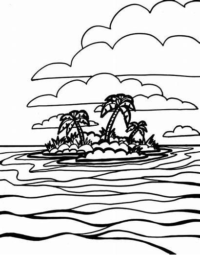 Ocean Pages Printable Island Coloring Waves Oceans