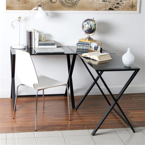 metal and glass office desk ameriwood corner desk with 2 shelves in black ebony ash