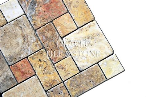 oracle tile and ebay scabos travertine tumbled mini pattern mosaic tile mesh ebay