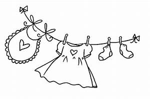 Clothesline Black And White Clipart