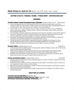 personal trainer resume sle no experience sle personal trainer resume 9 exles in word pdf
