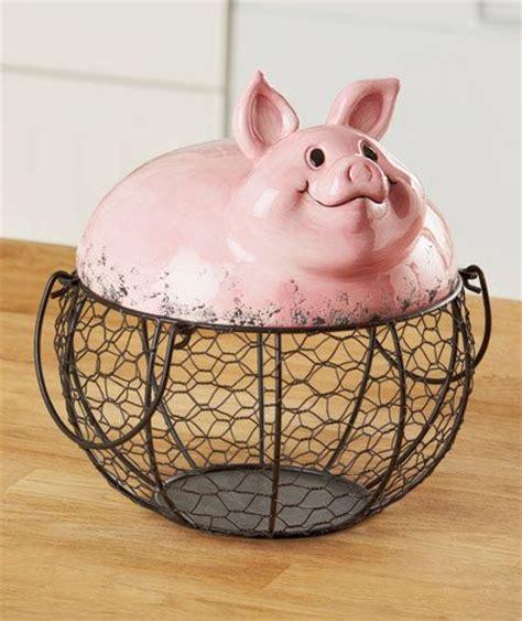 pig kitchen decor farm pig wire food storage basket country kitchen animal