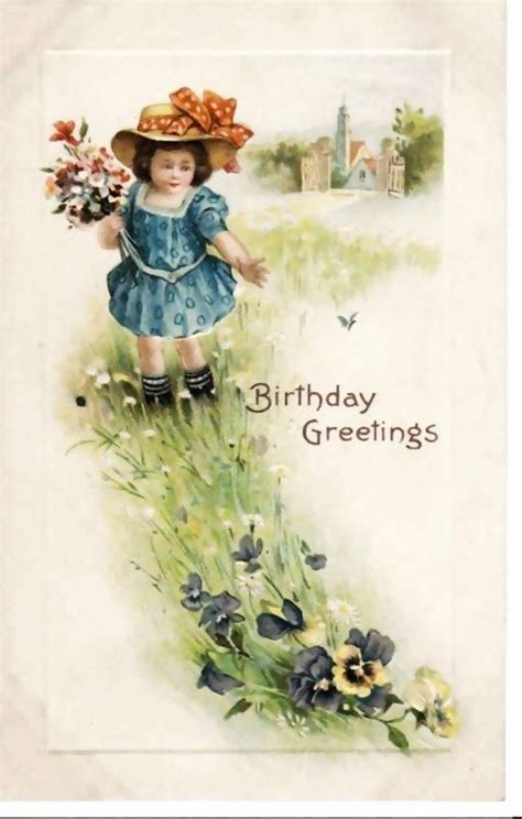 Vintage Embossed Birthday Greetings Postcard  Wild
