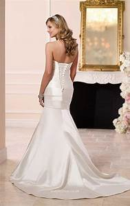 ivory satin strapless sweetheart fit and flare wedding With fit and flare wedding dresses