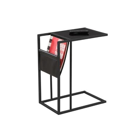 side table with l and magazine rack monarch metal side table with magazine rack in black ebay