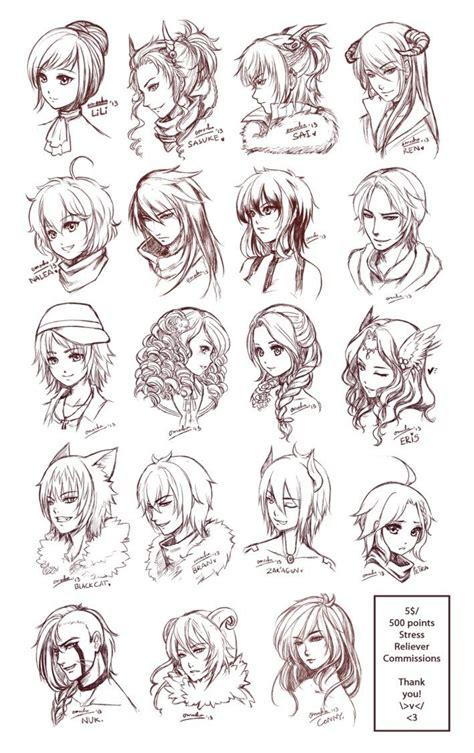 inspiration hair expressions manga art drawing