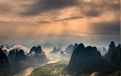 Guilin China Landscape Mountain Sunrise River Clouds