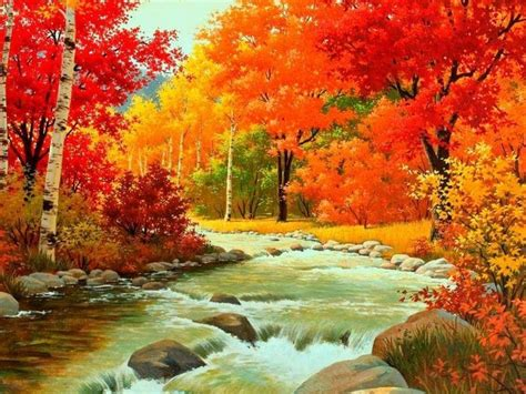 Autumn Waterfalls Painting Art Trees Drawing Leaves