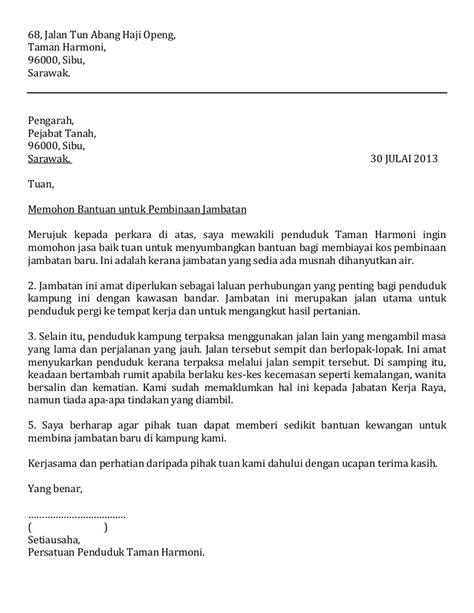 Surat kiriman tidak rasmi bahasa inggeris. Surat rasmi bantuan bina jambatan