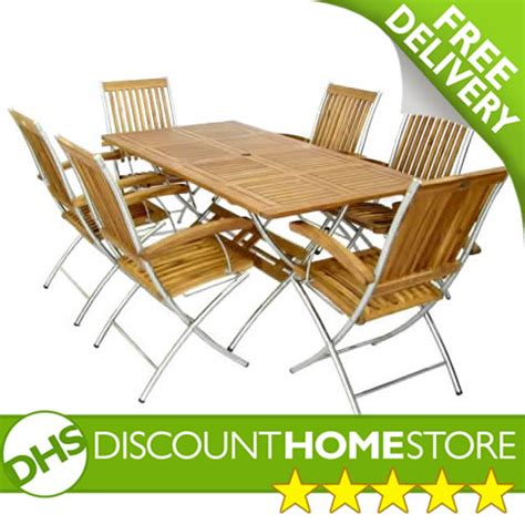tuscany 6 seater garden folding table and reclining chairs