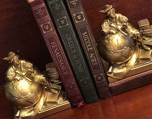 Vintage, Bronze, Bookends, Of, Columbus, And, Globe, Pm, Craftsman, Bookends, Explorer, Bookends, Heavy
