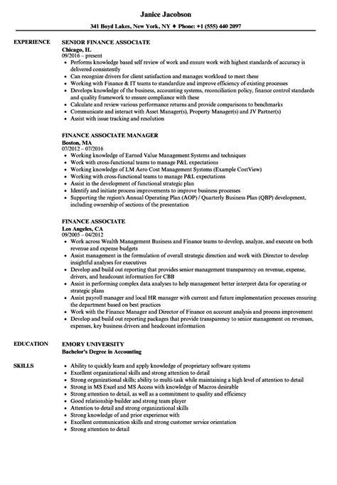 finance associate resume samples velvet jobs