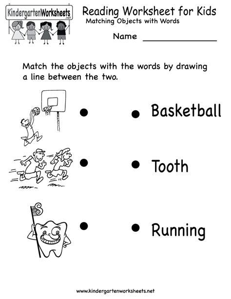 worksheets for kindergarteners kindergarten reading worksheet for printable