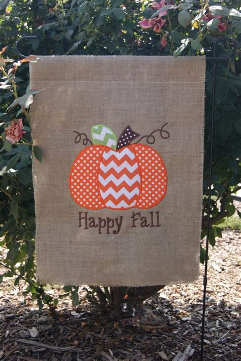 fall pumpkin burlap garden flag embroidered
