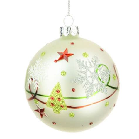 80mm traditional glass christmas baubles white red green