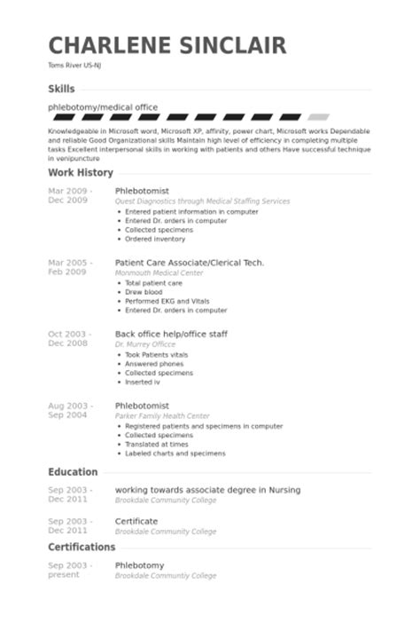 entry level phlebotomy resume exles 28 images resume