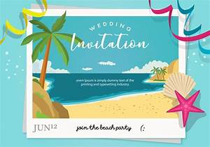 beach party wedding invitation vector download free With beach wedding invitations vector