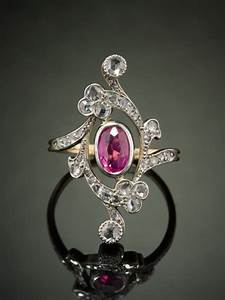 ANTIQUE ART NOUVEAU NATURAL CEYLON PINK SAPPHIRE AND