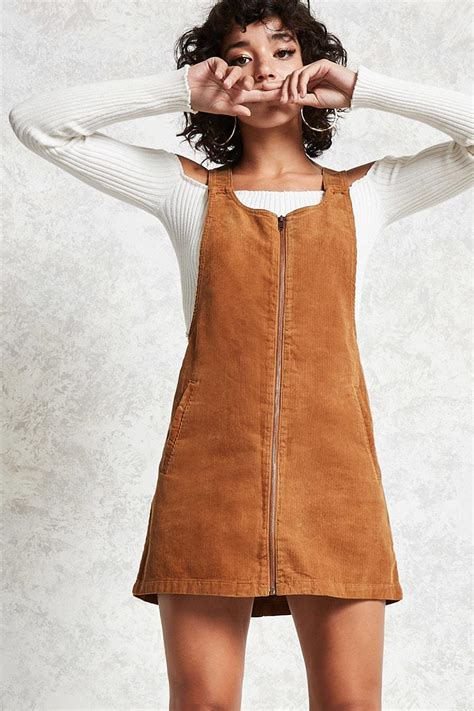 Lyst - Forever 21 Corduroy Overall Dress in Brown