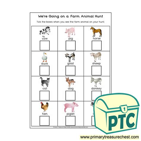 farm animals themed resources primary treasure chest