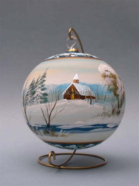 glass christmas ball hand painted by artist from artwilk