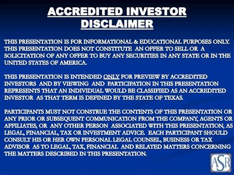 disclaimer template investor ppt accredited investor disclaimer powerpoint