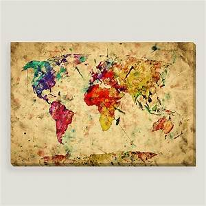 vintage style world map wall art world market With map wall art