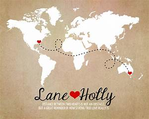 long distance world map rustic wedding gift art print With wedding invitation for long distance relationship