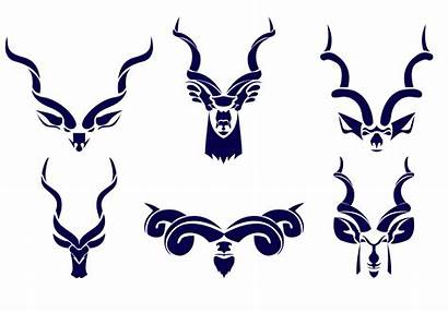 Kudu Vector Horn Silhouette Clipart Icon Vectors