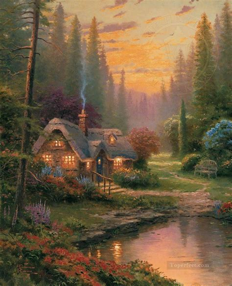 Cottage Paintings By Kinkade by Meadowood Cottage Kinkade Painting In For Sale