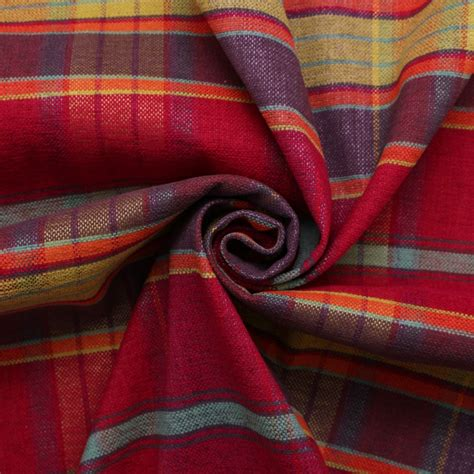 designer discount linen look tartan check plaid curtain